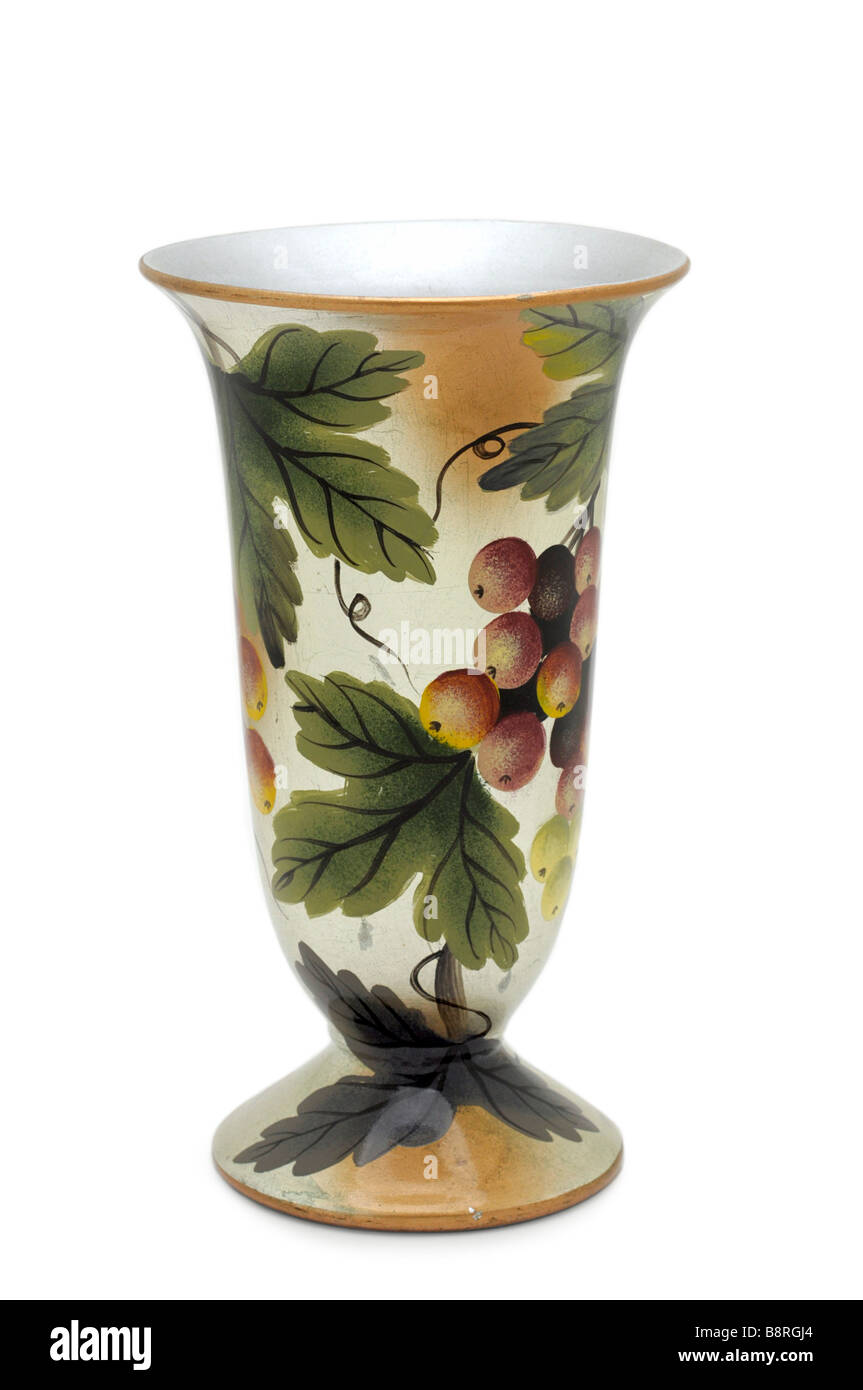 Vase with Floral/Fruit Pattern - Stock Image