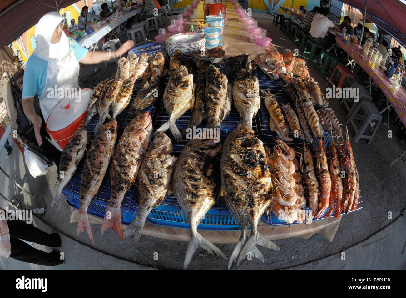Barbecued fish for sale at a restaurant Kota Kinabalu Sabah Malaysia Borneo South est Asia - Stock Image