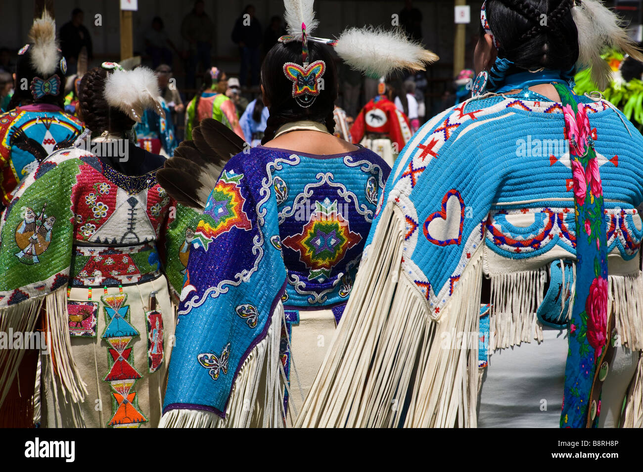 Costumed Indian dancers at North American Indian Days Celebration, 2008, Browning, Montana. - Stock Image