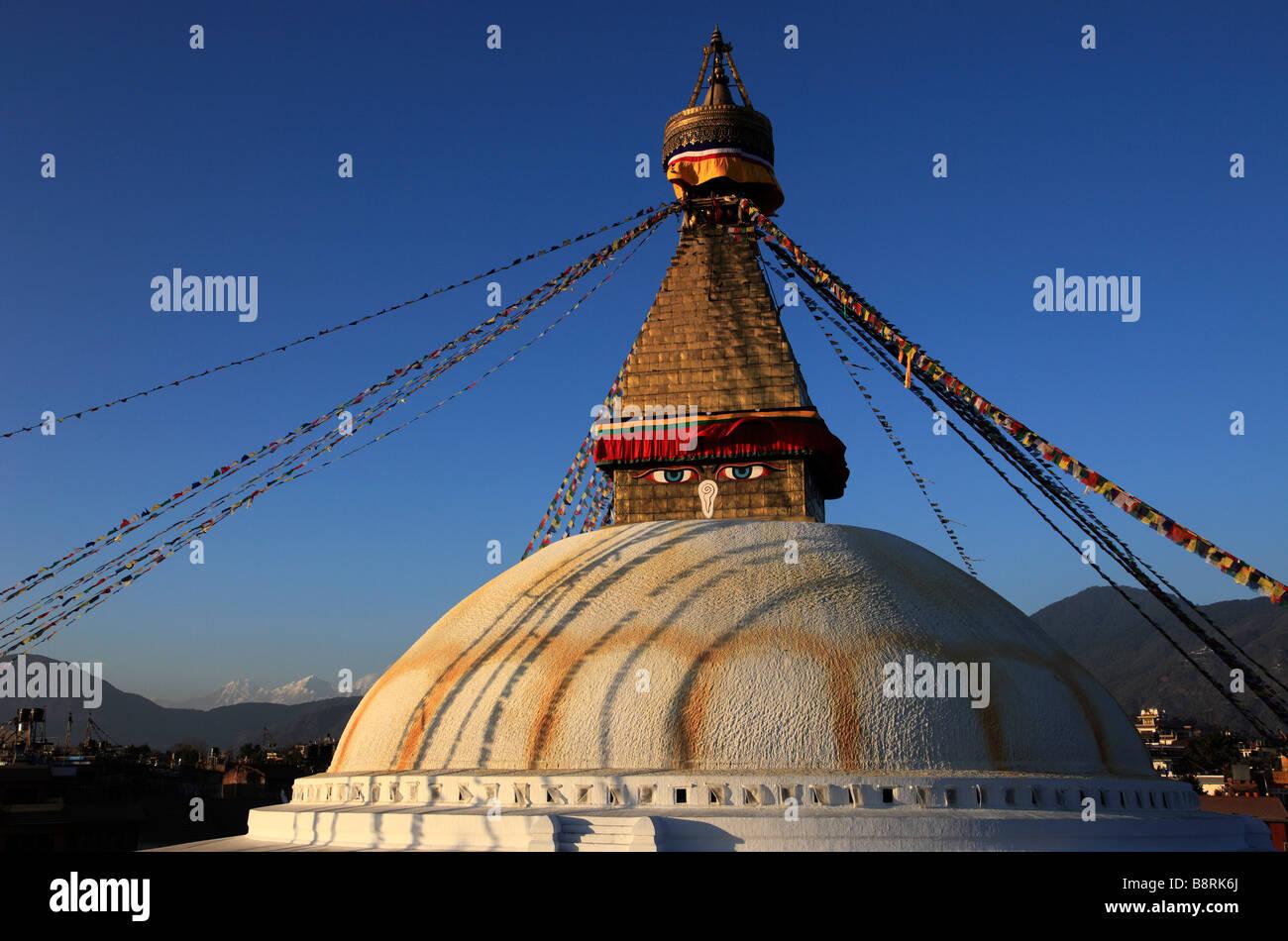 Nepal Kathmandu Valley Boudhanath Bodhnath Stupa - Stock Image