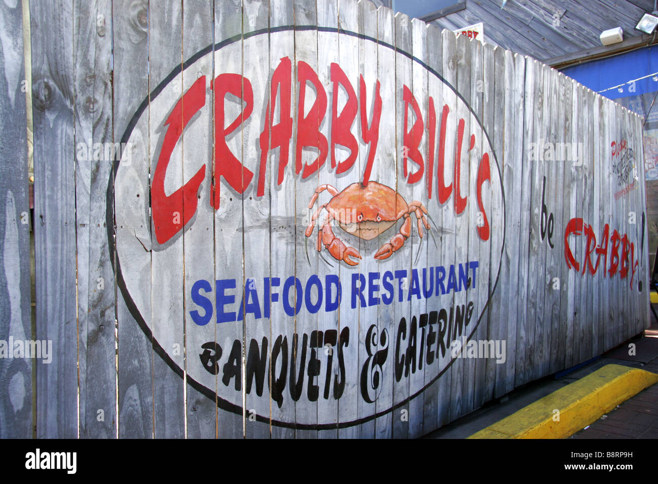 Painted Wood Fence Panel Sign For Crabby Bills Restaurant In