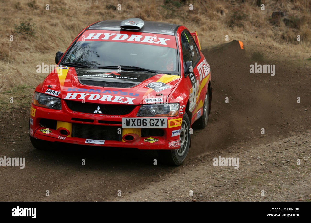 Action shot of rally car proforming at Rallye Sunseeker 2009 - Stock Image