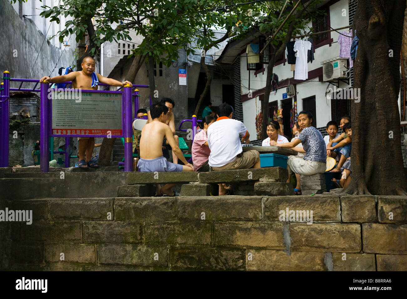 Community gathering in the old part of Chongqing City, southwestern China's boomtown. Stock Photo