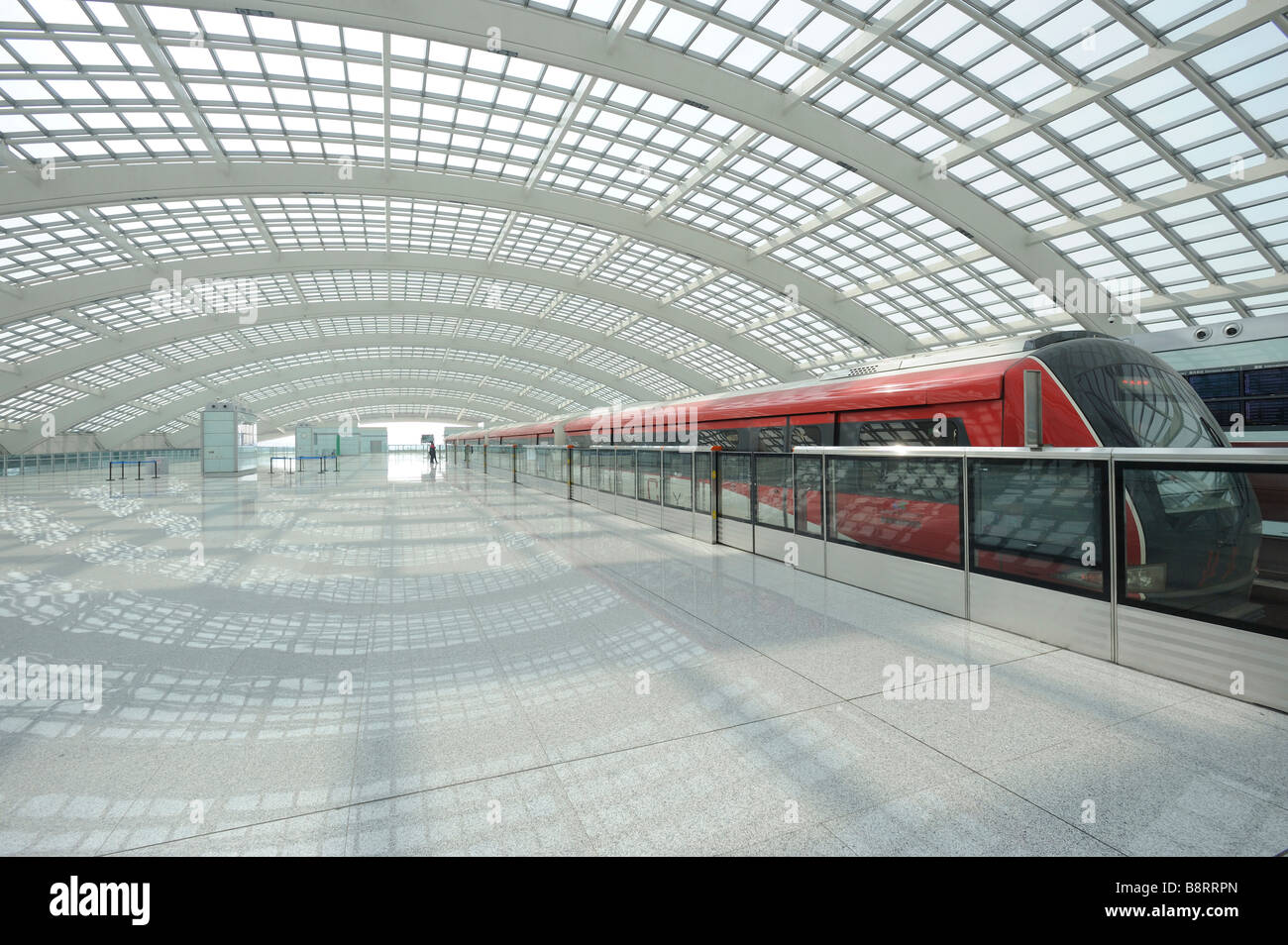 Airport Express Train Station at the Terminal 3 Beijing Capital International Airport. 07-Mar-2009 - Stock Image