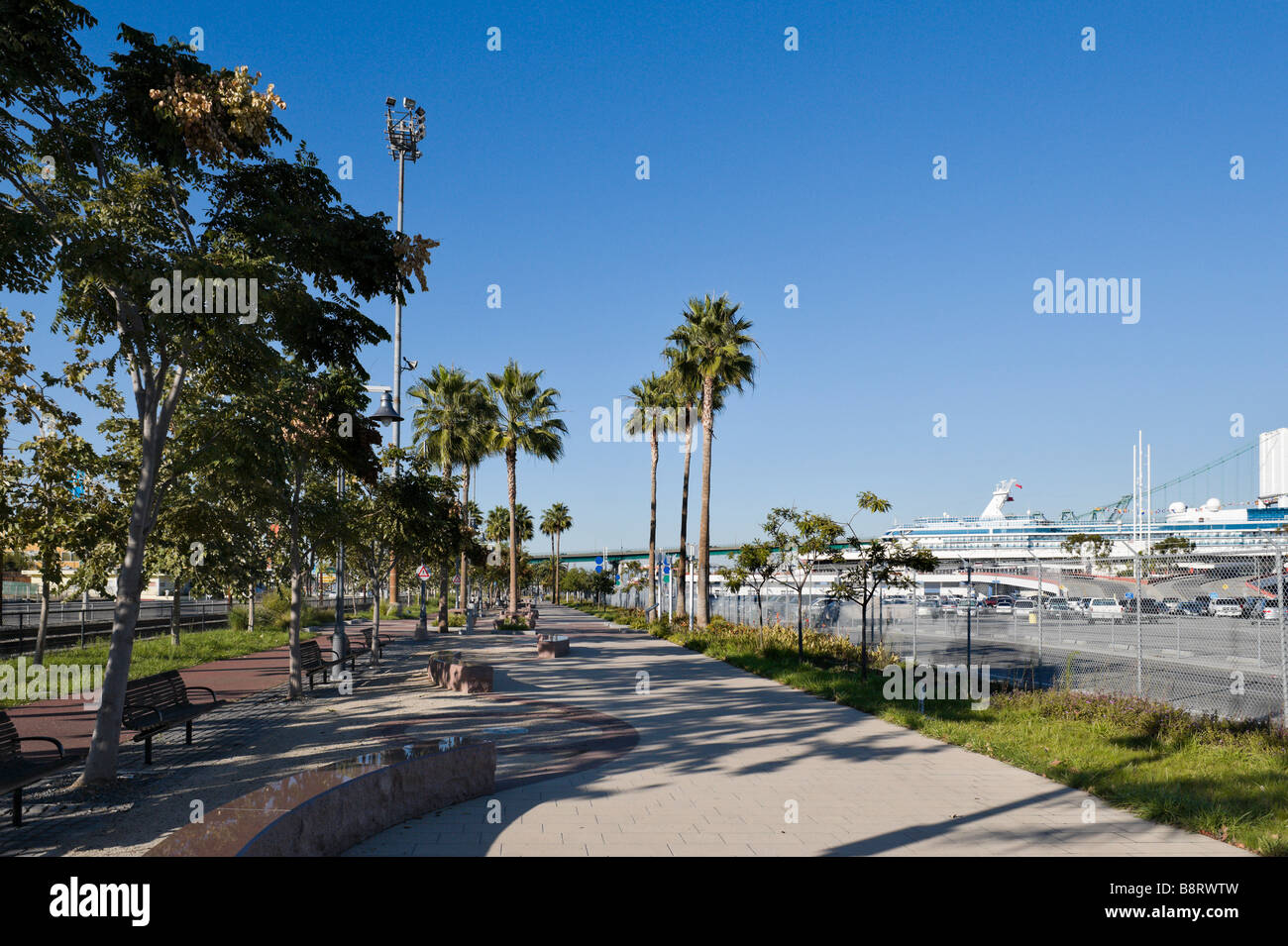 Promenade near the Cruise Terminal, Port of Los Angeles, San Pedro, Los Angeles, California, USA - Stock Image