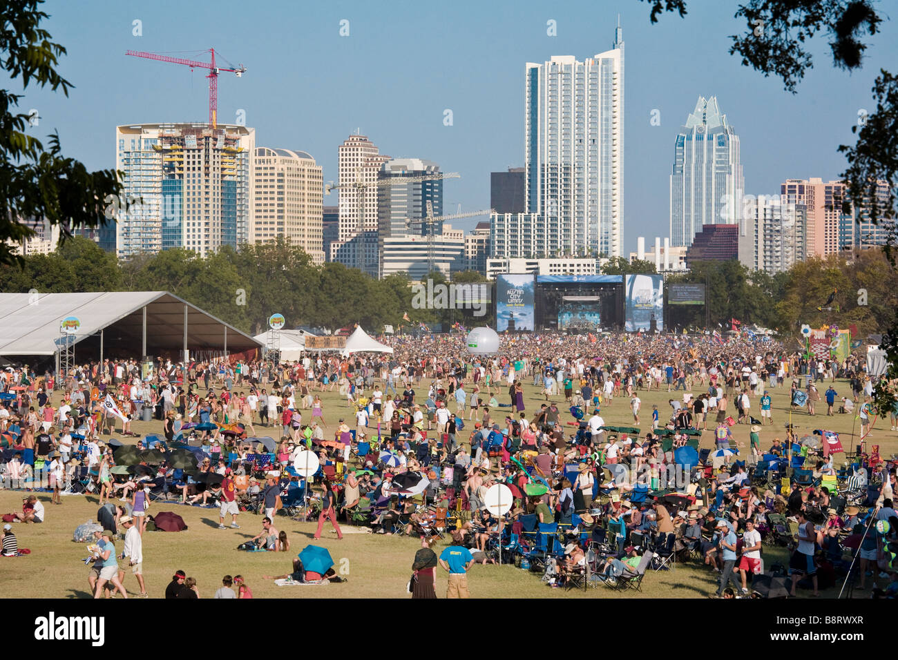 Austin, Texas - Thousands of music fans congregate on the lawn of Zilker Park during the Austin City Limits Music - Stock Image