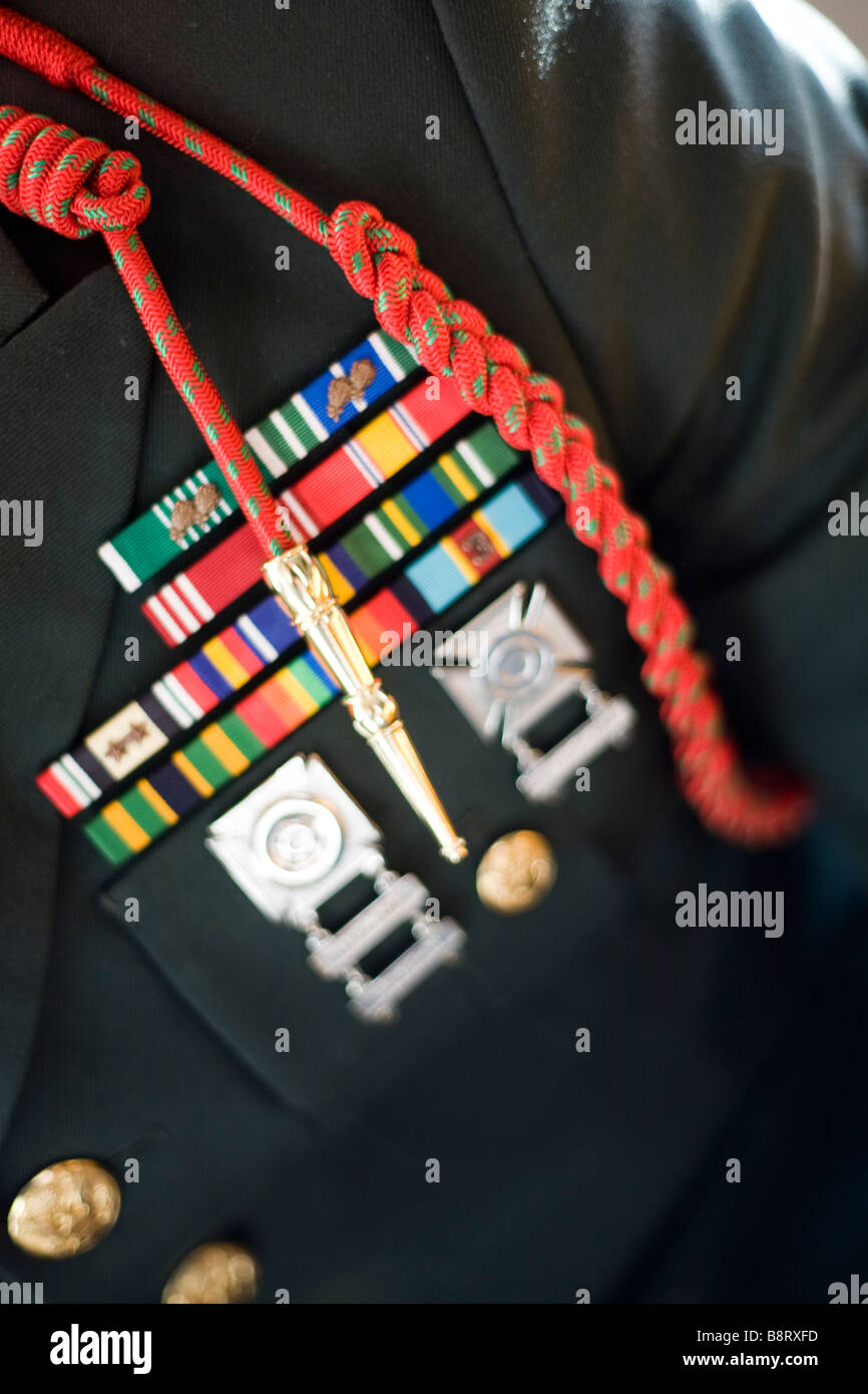 Close up of an Army Sergeant's decorated formal uniform. - Stock Image
