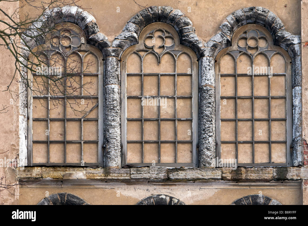 Triple Gothic False Windows On Castle Wall