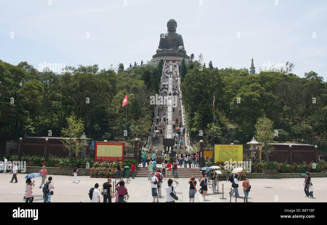 tourists and steps leading Giant Buddha Po Lin Monastery Lantau Island Hong Kong  April 2008 - Stock Image