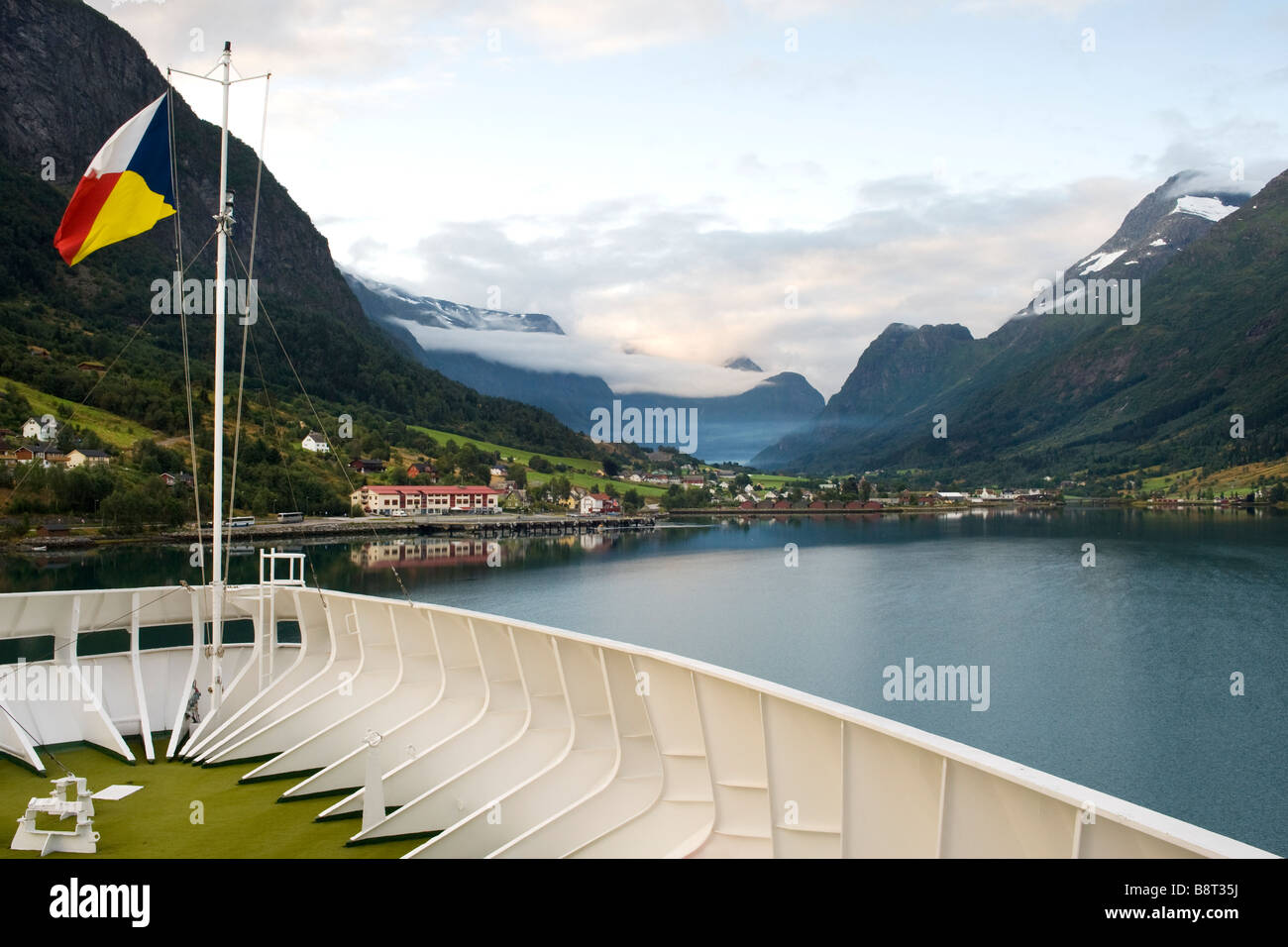 P&O cruise ship Artemis approaching Olden, Norway - Stock Image