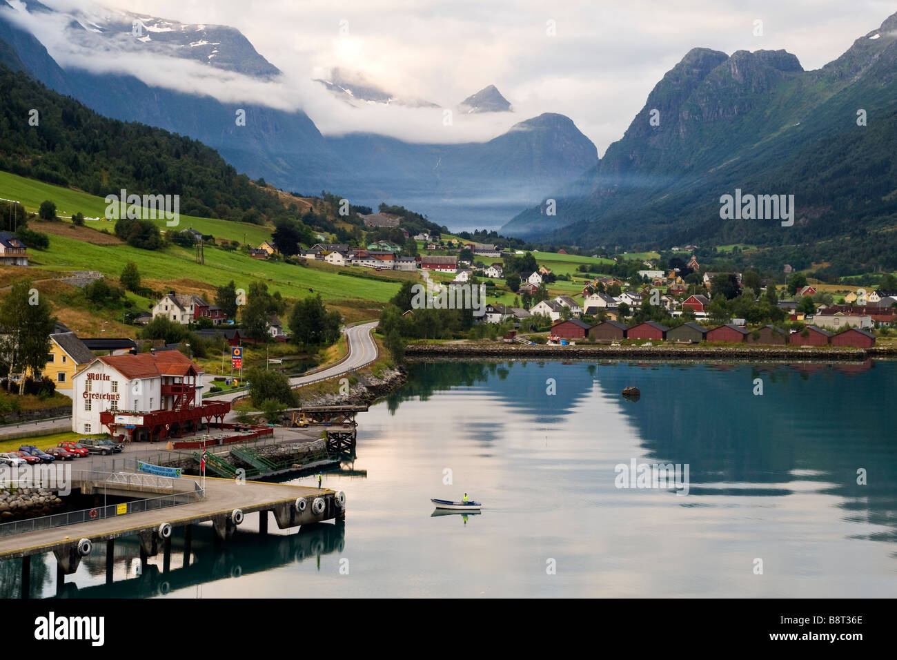 Approach to the port of Olden, Norway - Stock Image