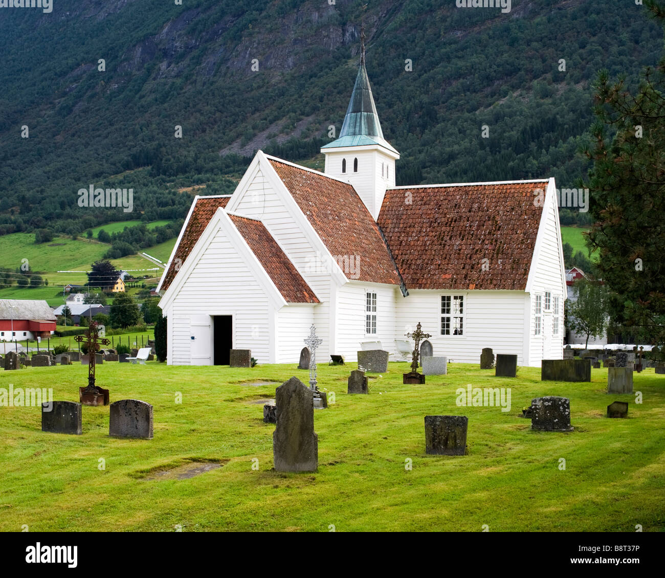 Olden old church (1759), in Olden, Norway - Stock Image