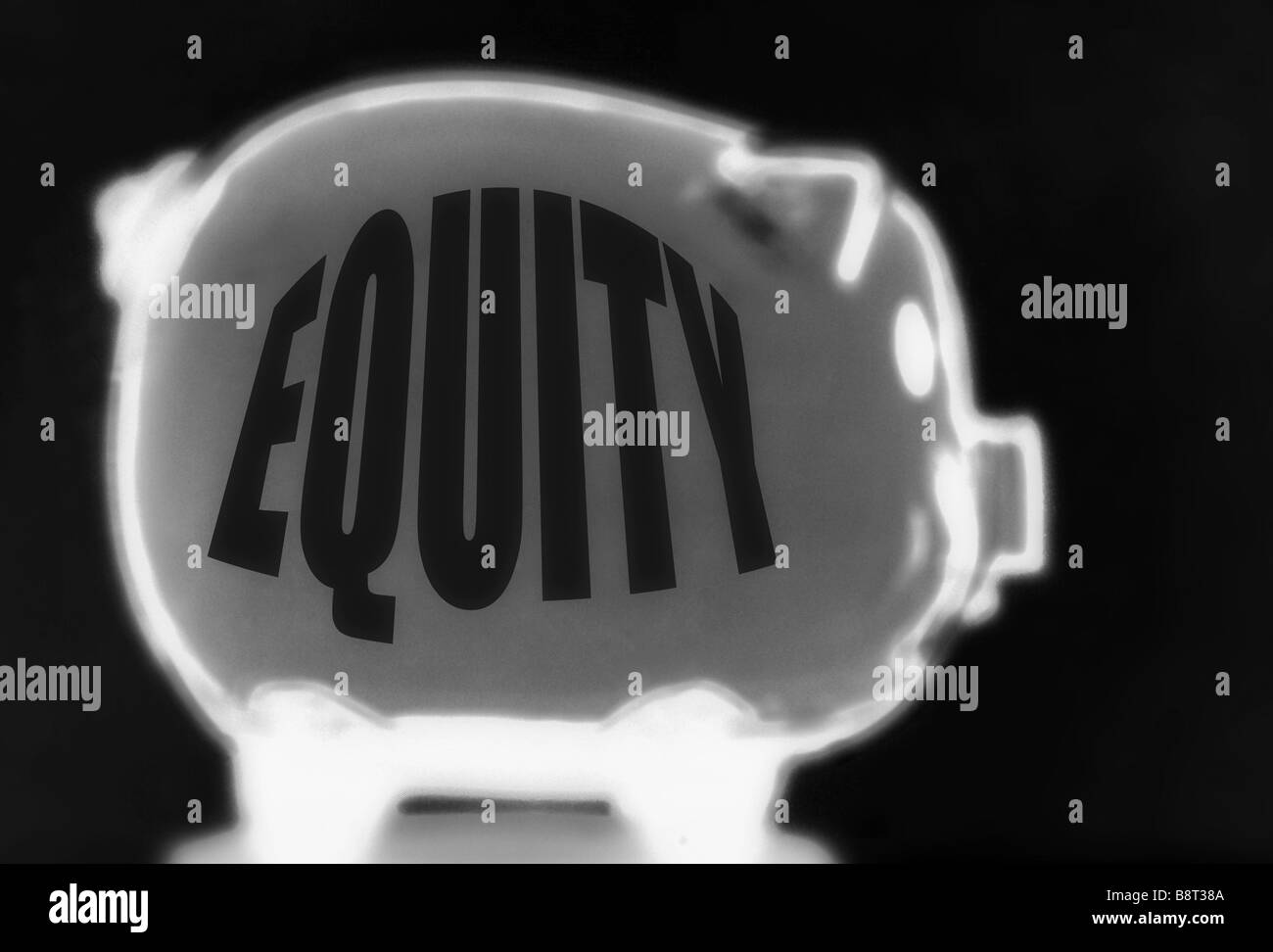 Negative Equity Concept using a empty Piggy Bank titled 'EQUITY' and the image produced as a negative - Stock Image
