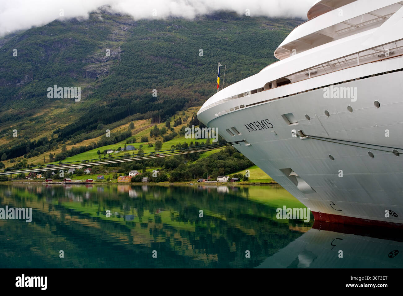P&O cruise ship Artemis berthed in Olden, Norway - Stock Image