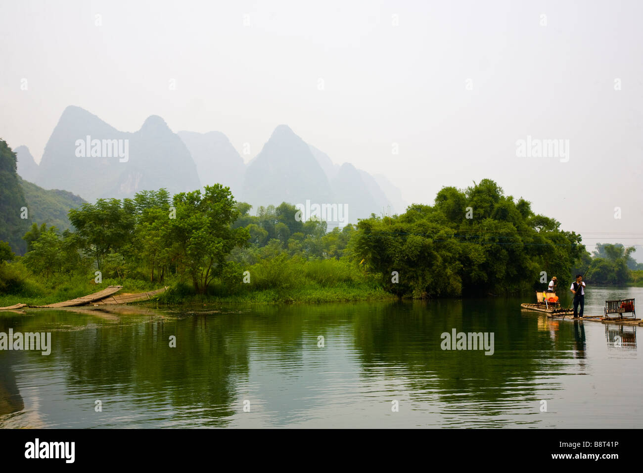 The Li River near Yangshuo and Guilin, Guangxi Province, China. Stock Photo