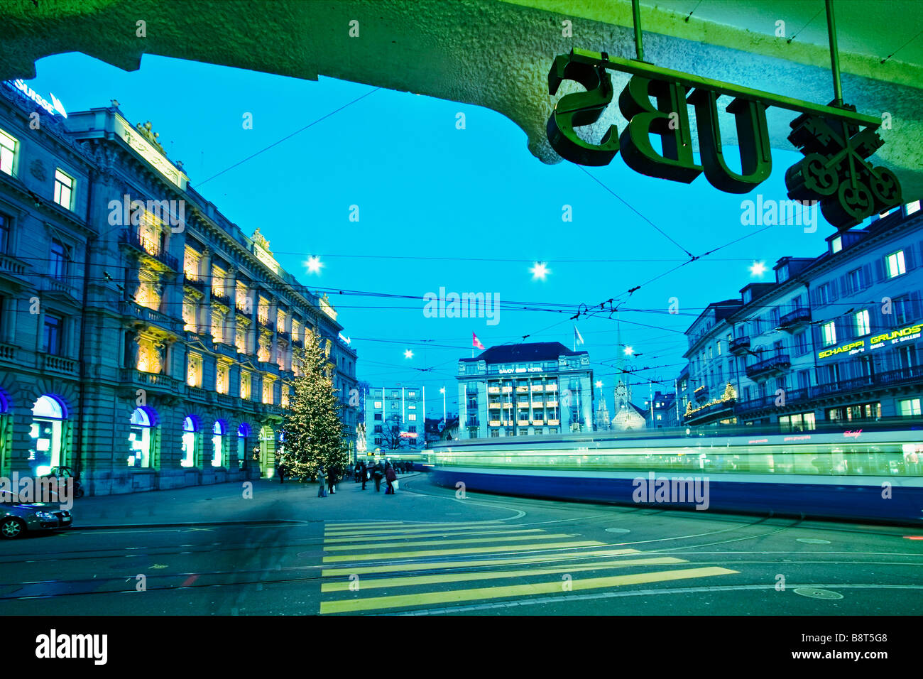 UBS bank entrance Logo UBS Credit Suisse bank Paradeplatz Zurich Switzerland - Stock Image