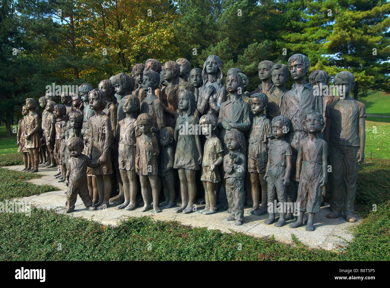 A monument to the lost children - victims of war in the park town of Lidice in the Czech Republic Stock Photo