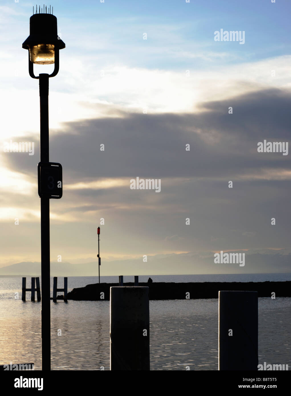 Evening view of Lac Leman as viewed from Lausanne, Switzerland, lake side cities include, Geneve, Vevey, Montreux - Stock Image