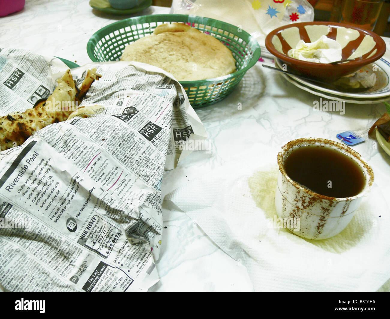 yemenite breakfast, Yemen, Aden - Stock Image