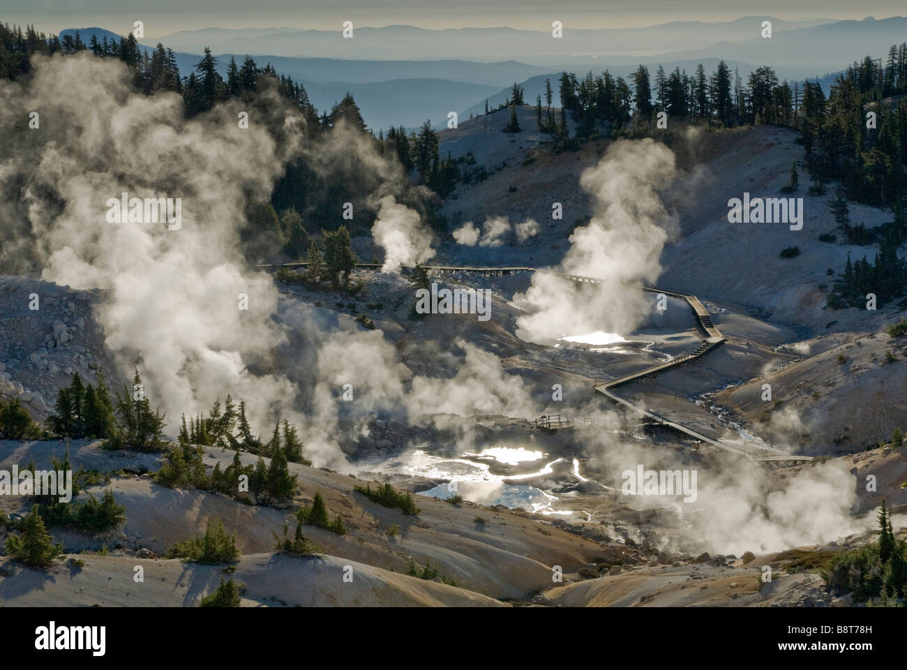 Fumaroles steam vents at Bumpass Hell area in Lassen Volcanic National Park California USA - Stock Image