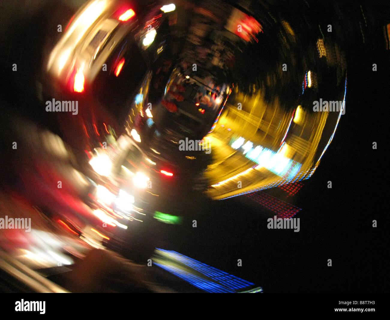 Whirling neon lights - Stock Image