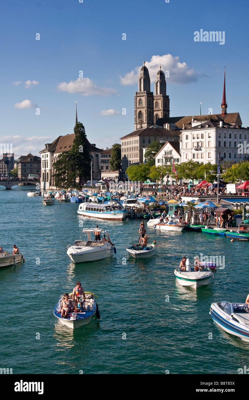 Zurich lake in summer pedalo boats background Grossmunster Zurich Switzerland - Stock Image