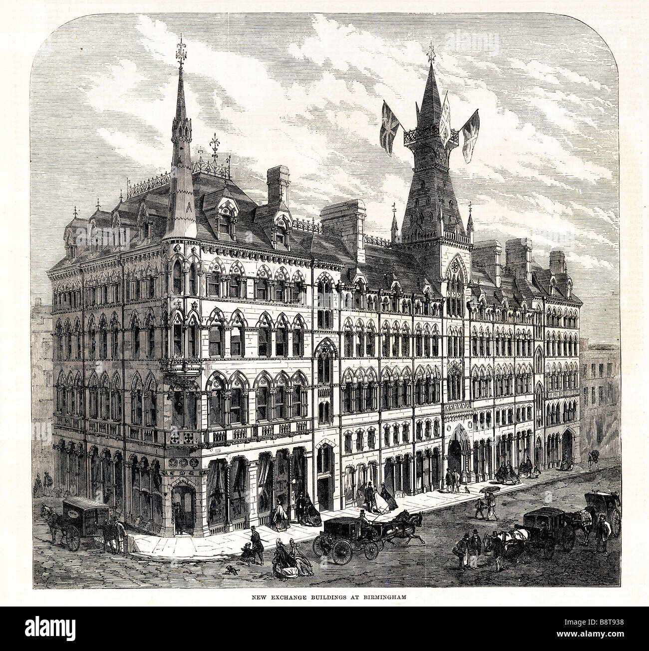 New Exchange Building Birmingham 1865 opened by John Bright in January for the merchants of the fast growing English - Stock Image