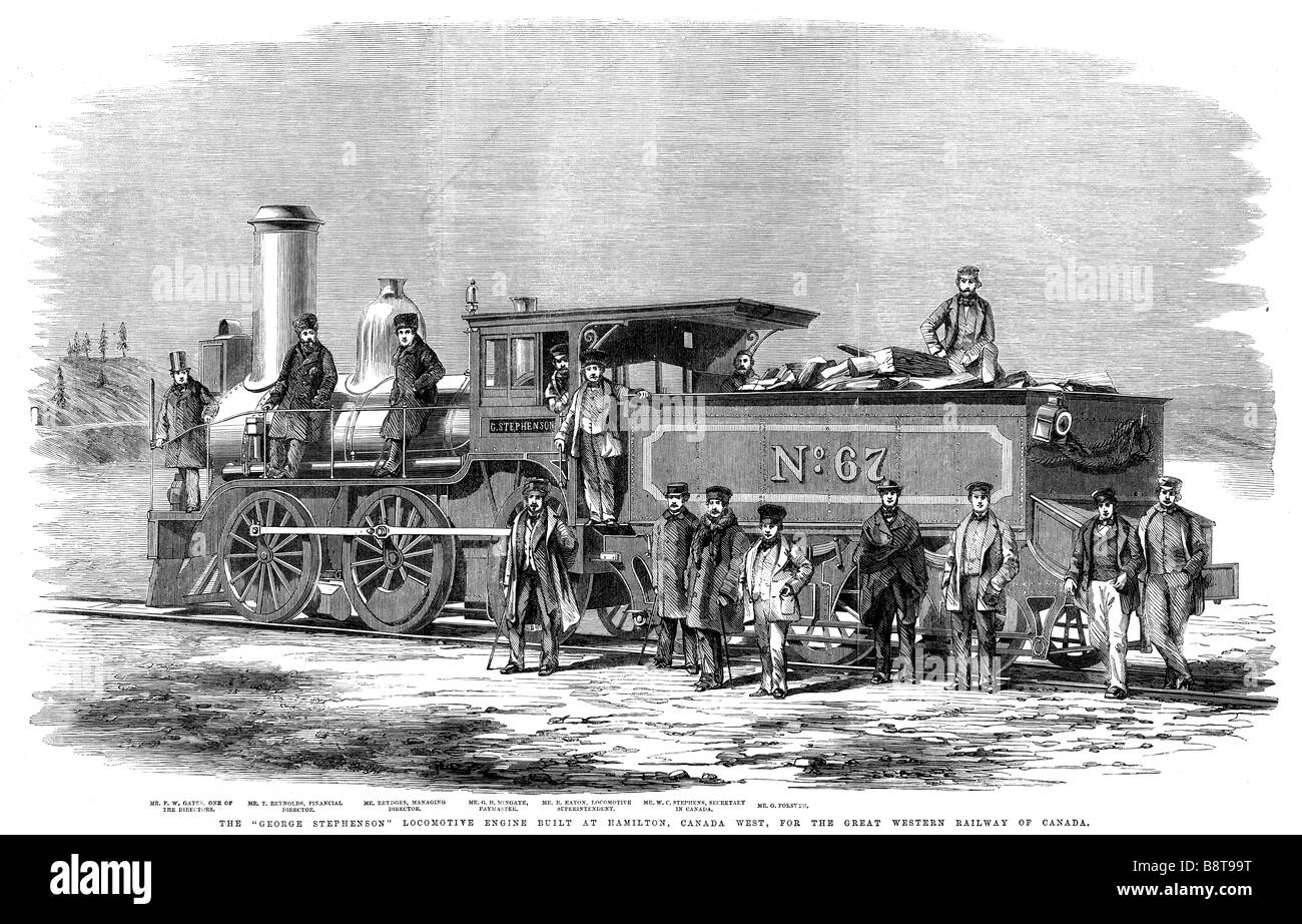 George Stephenson Locomotive Canada 1860 engraving of the new ...