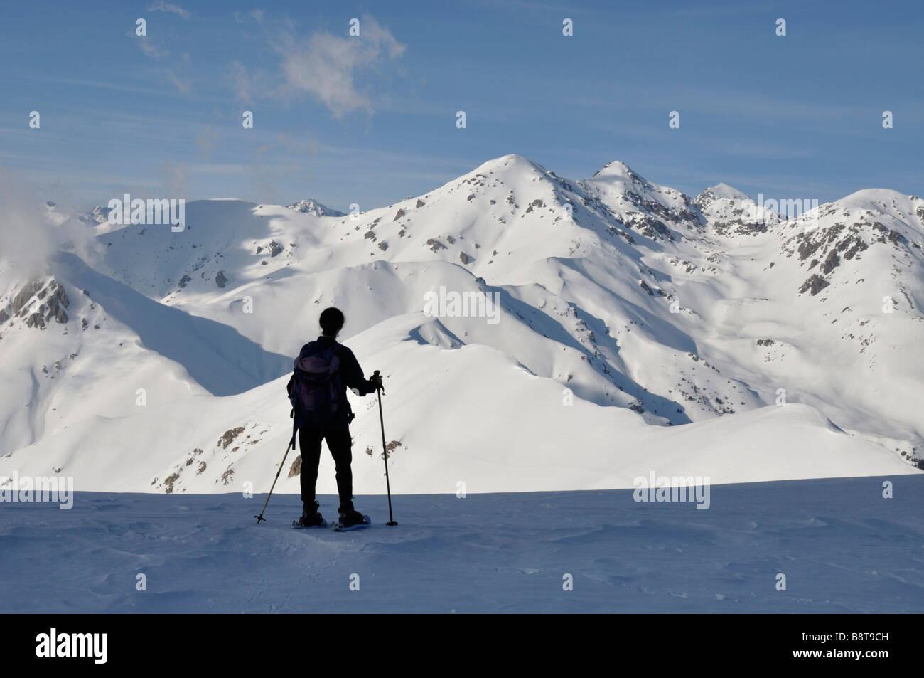 Snowshoer Pointe des Trois Communes L'Authion Col de Turini, France - Stock Image