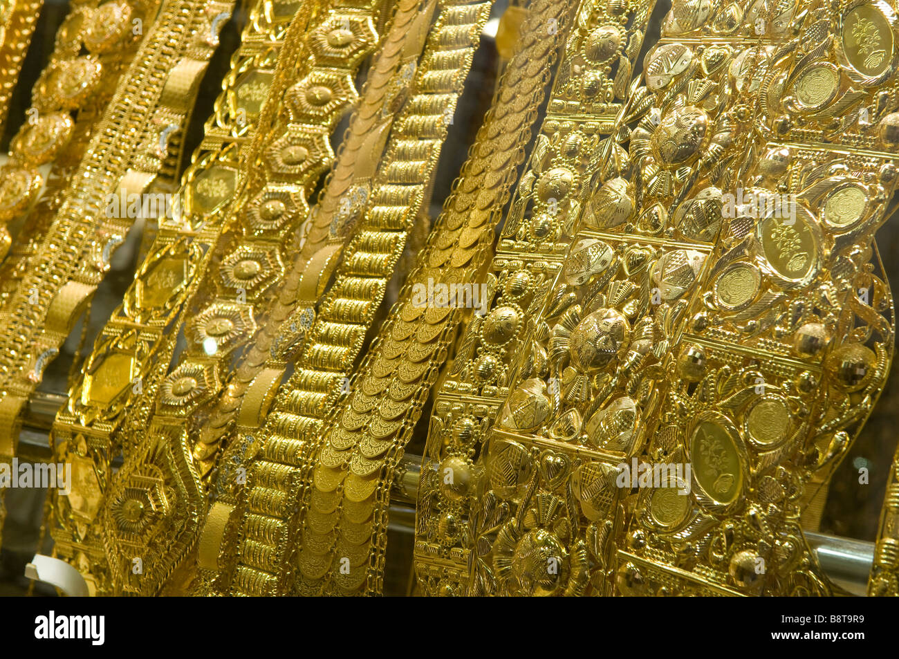 necklace display in gold souk shop window, dubai, uae - Stock Image