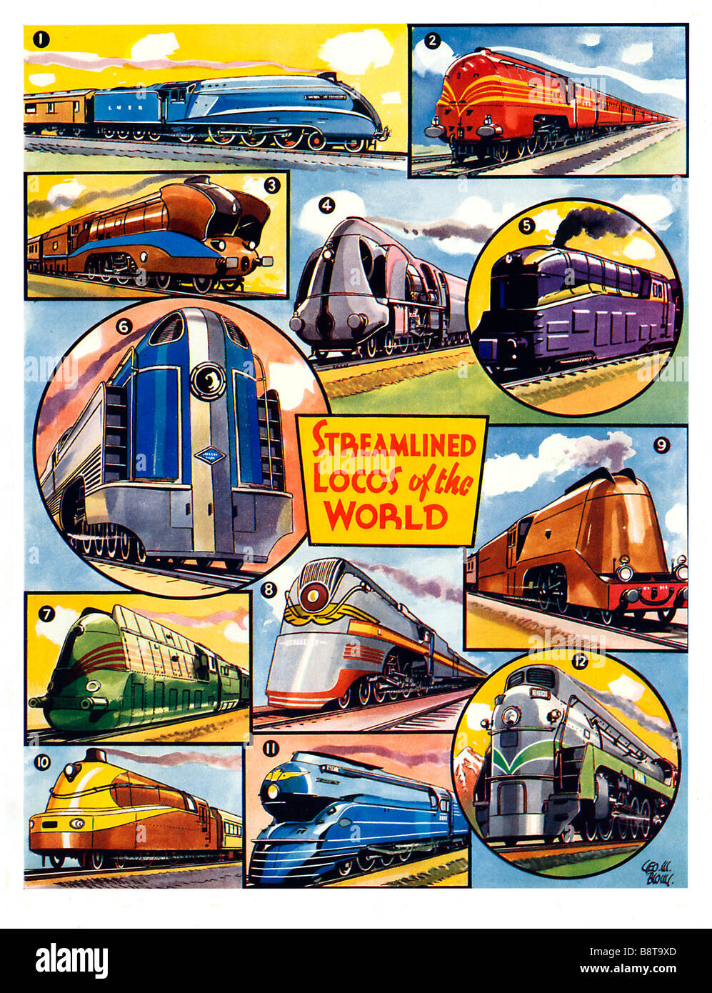Streamlined Locos Of The World 1941 book illustration of steam engines designed in the streamline style - Stock Image