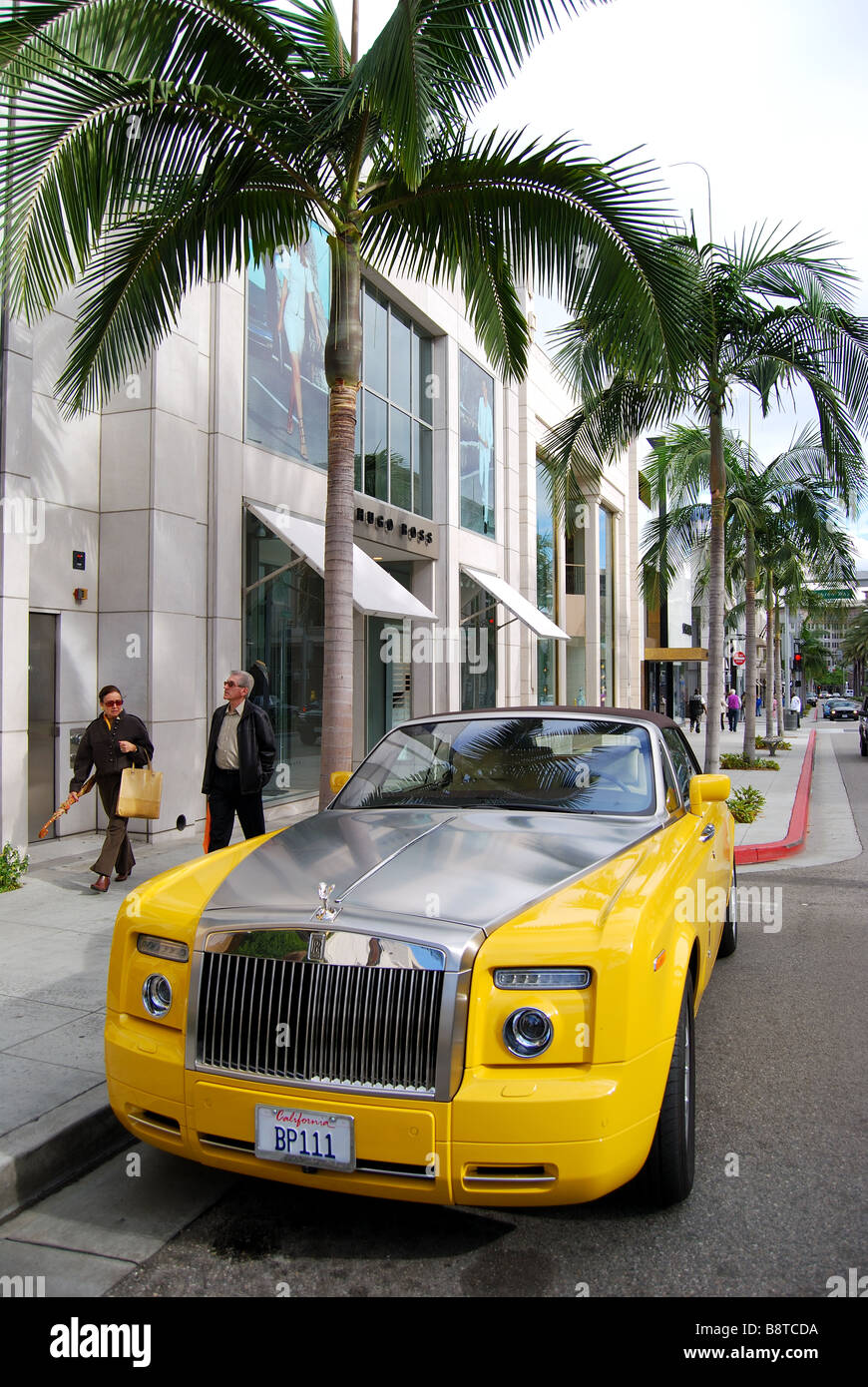 Yellow Rolls Royce N Rodeo Drive Beverly Hills Los Angeles Stock