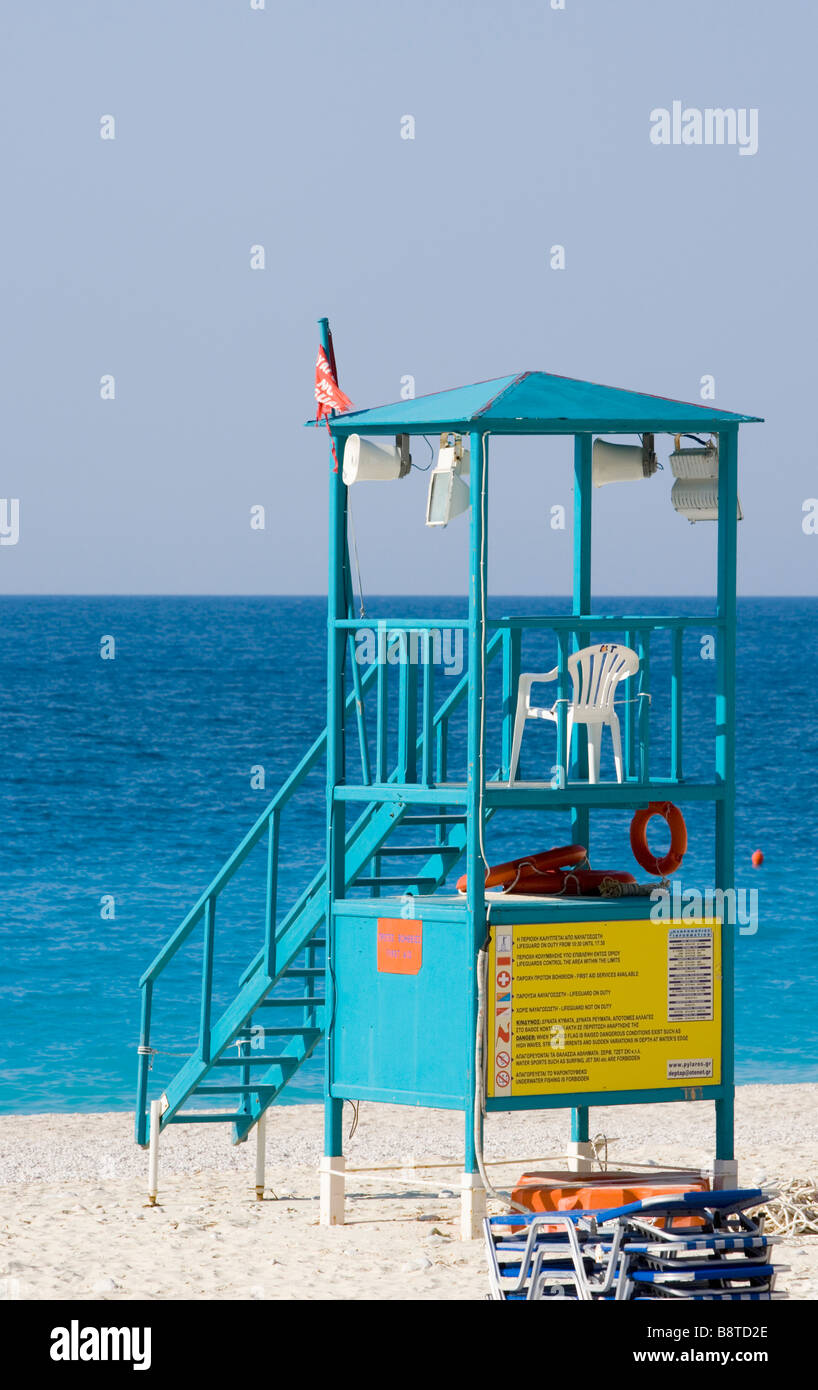 Beach guard's stand - Mirtos beach, Kefalonia, Greece.Europe - Stock Image