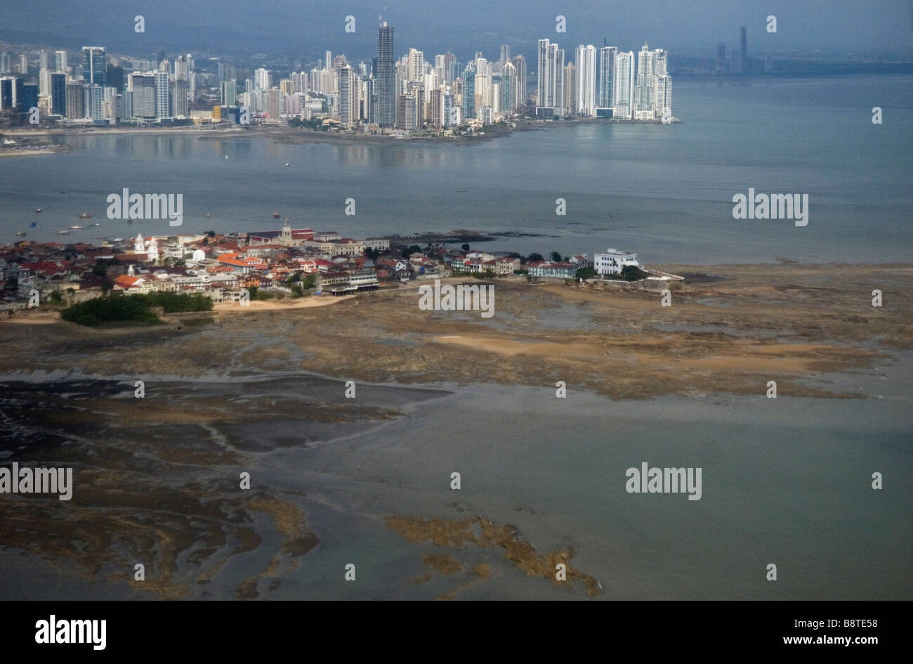 Panama City skyline with the Casco Antiguo old town in the foreground - Stock Image