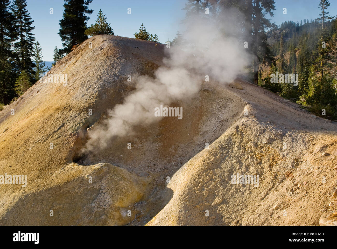 Fumaroles steam vents in Sulphur Works area at Lassen Volcanic National Park California USA - Stock Image