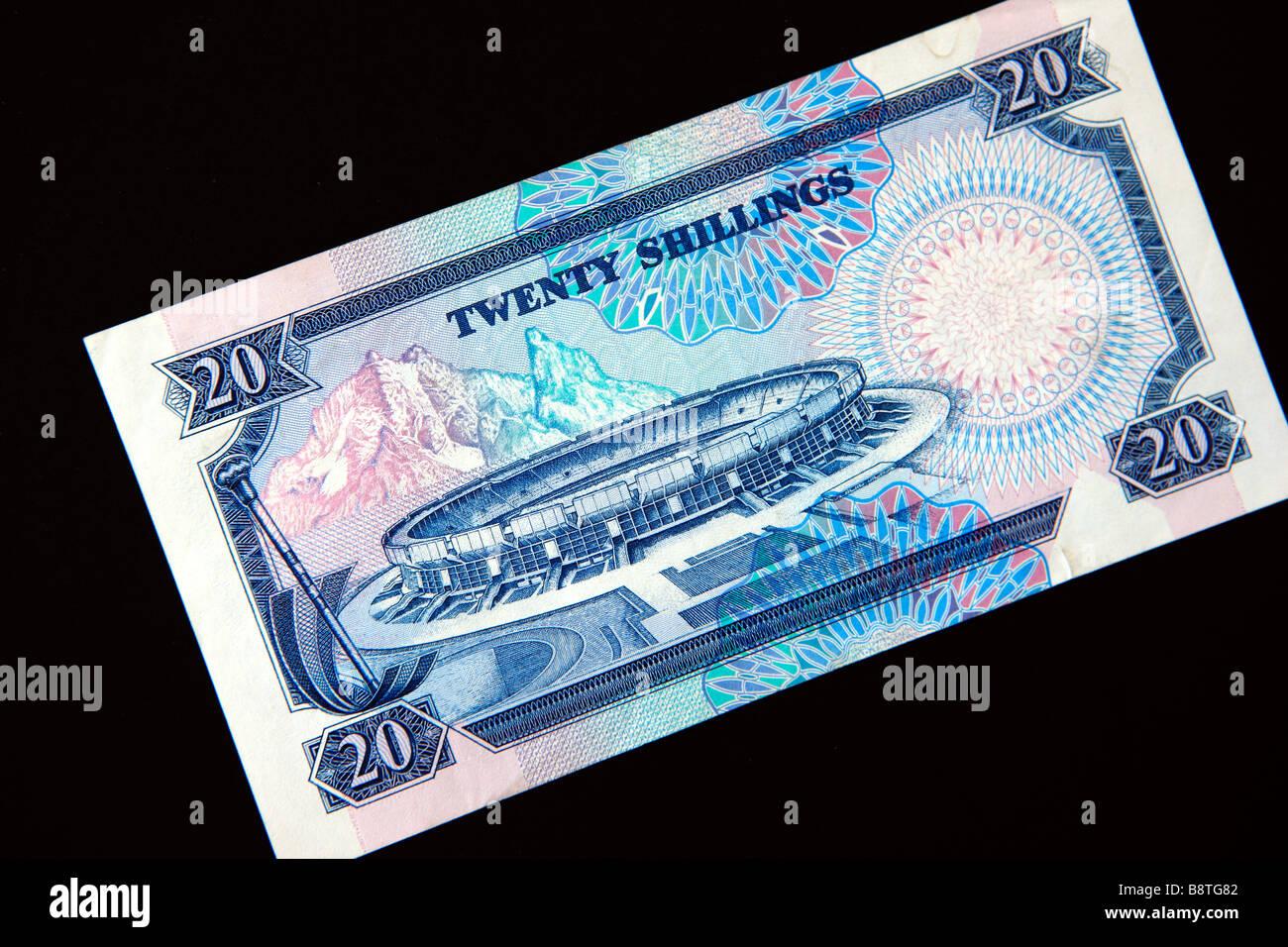 Kenyan 20 shilling note Stock Photo