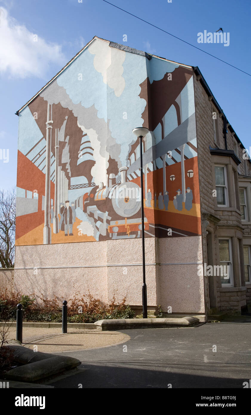 Gable wall mural,Old Railway Station,Morecambe,Lancashire. Poulton Heritage Trail. - Stock Image