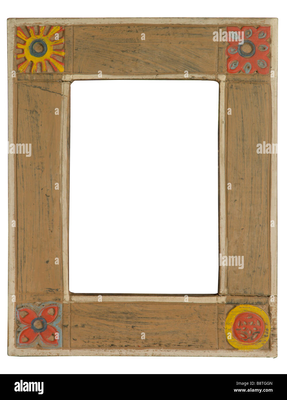Wood frame on white - Stock Image