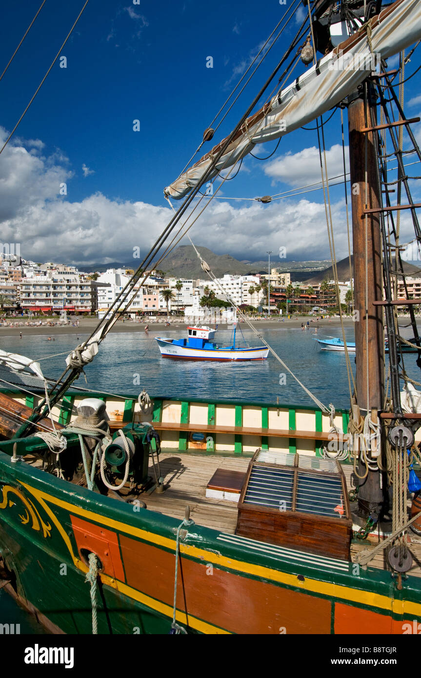 The 'Jolly Roger' pirate party tour boat in Los Cristianos harbour Tenerife Canary Islands Spain - Stock Image