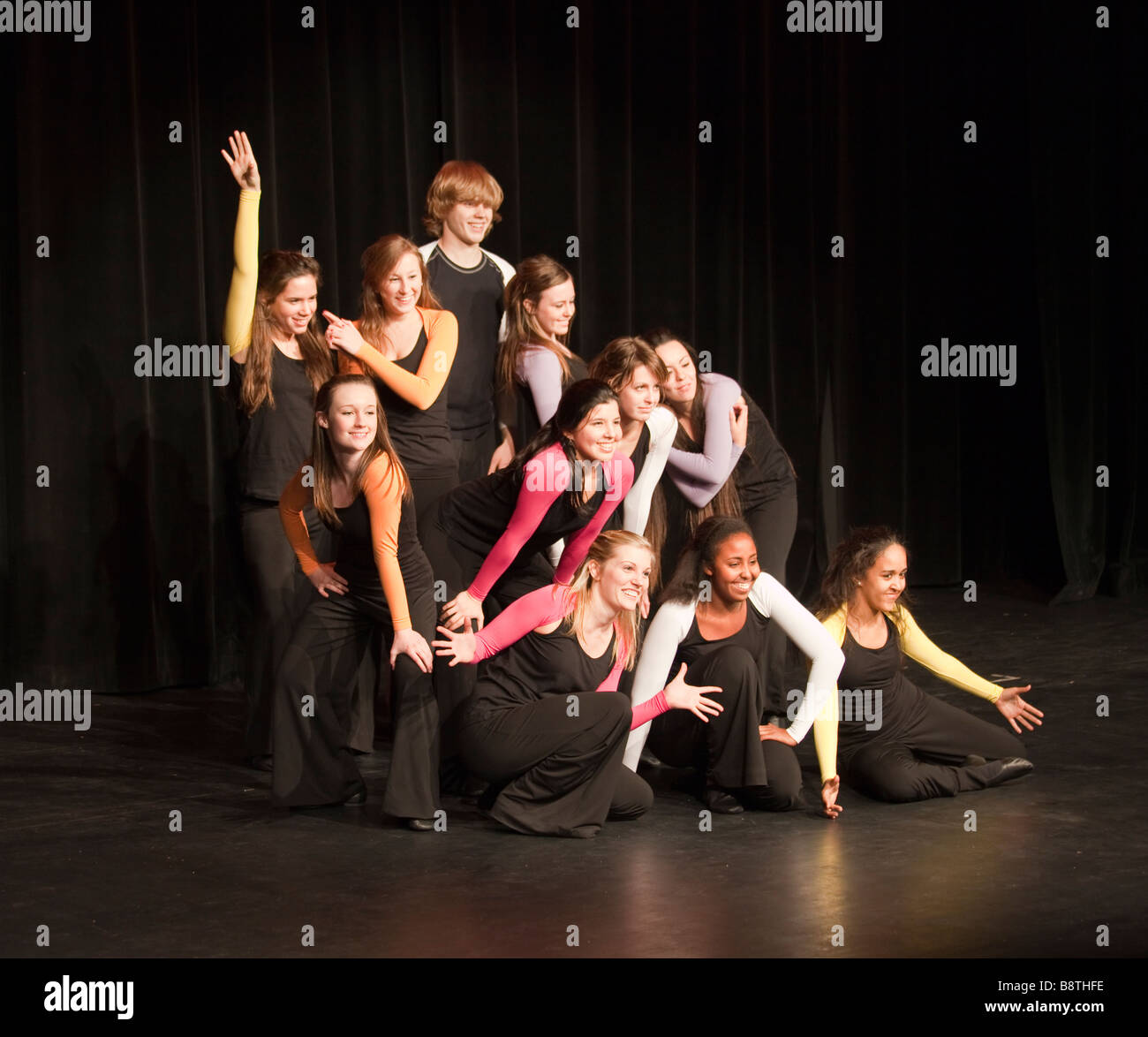 high school students dancing in talent show at theatre, Cairo American College, Cairo, Egypt - Stock Image