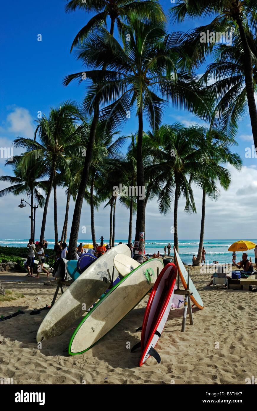 Surfboards On Waikiki Beach Honolulu Oahu Hawaii Stock