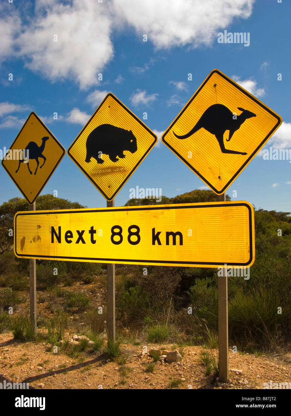 Famous signpost on the Nullarbor Stock Photo