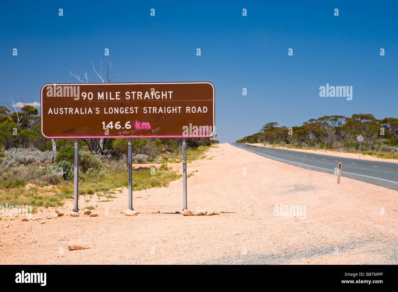 Sign for the longest straight in Australia Nullarbor Western Australia - Stock Image