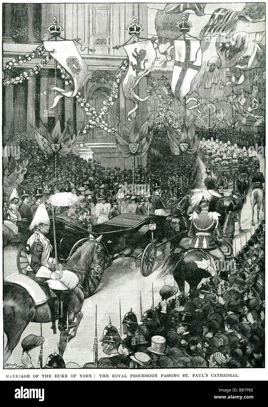 Marriage Duke of York Royal Procession St Pauls cathedral 1893 Stock Photo
