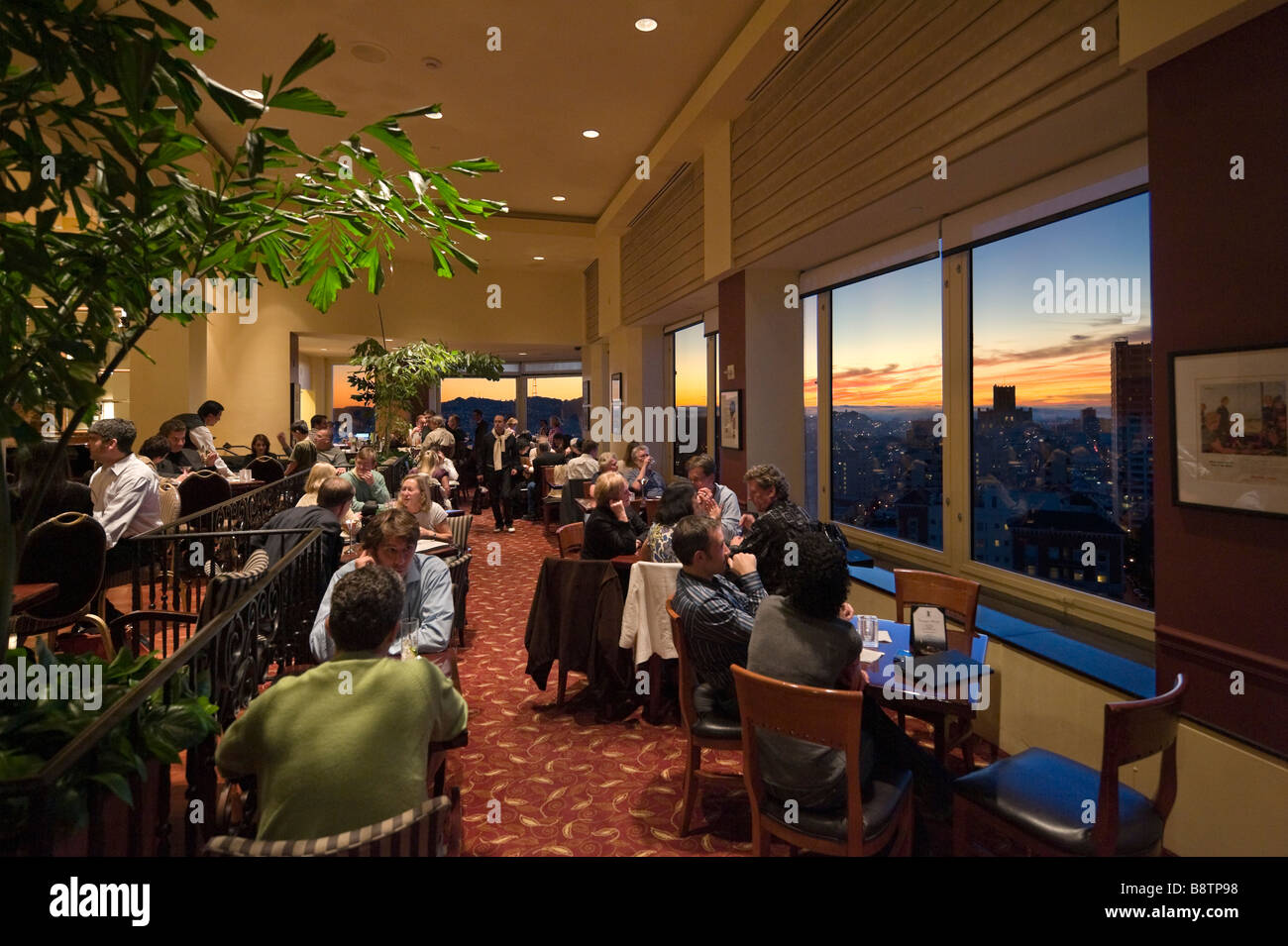 Top of the Mark rooftop bar at sunset, Intercontinental Mark Hopkins Hotel, Nob Hill, San Francisco, California, Stock Photo