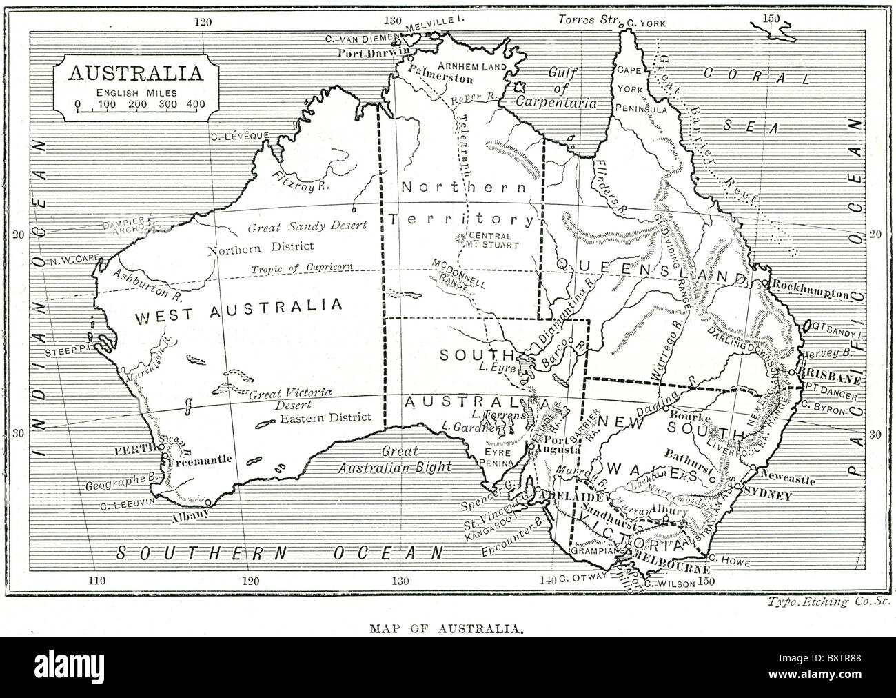map of australia Australia, officially the Commonwealth of Australia, is a country in the southern hemisphere comprising - Stock Image