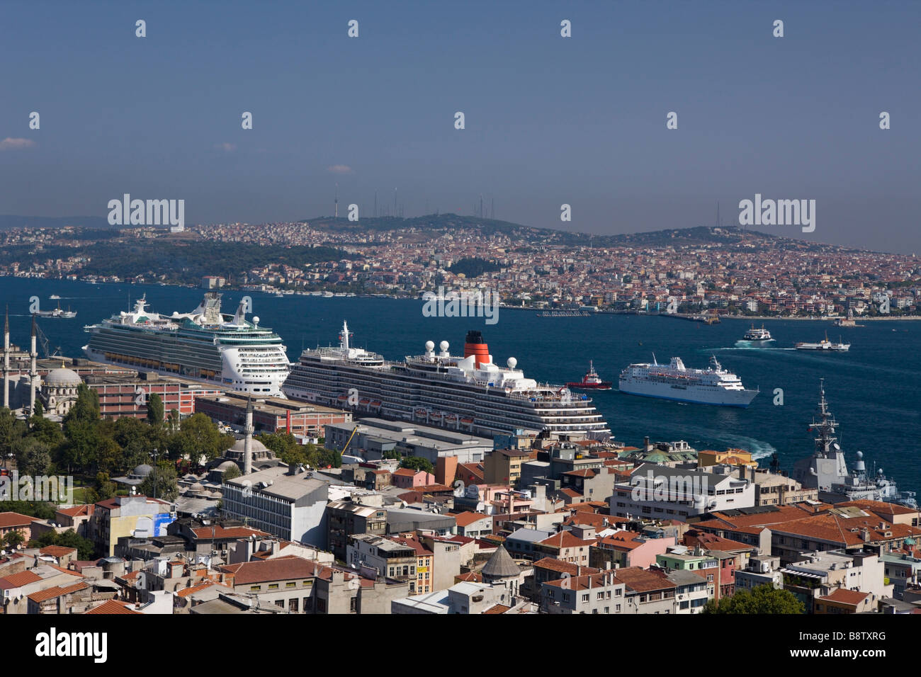 View from Galata Tower to Bosporus and Asien Continent Istanbul Turkey - Stock Image