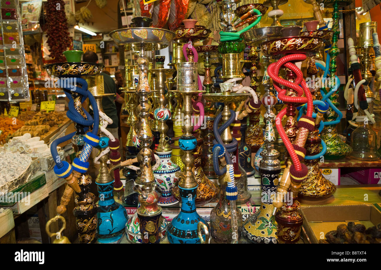 Waterpipes at Egyptian Bazaar Istanbul Turkey - Stock Image