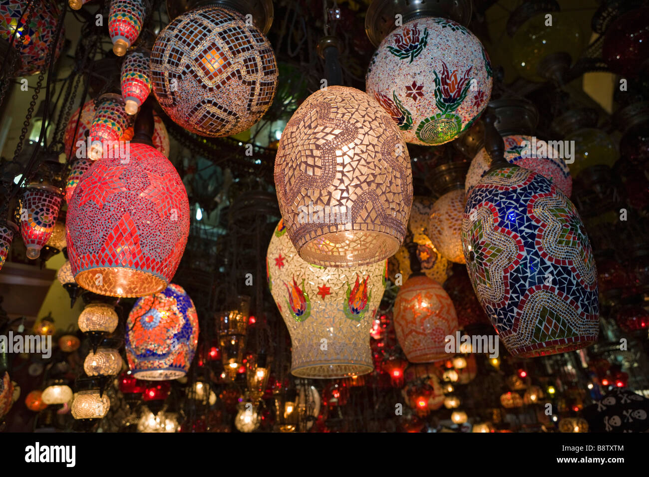 Glass Lamps at Egyptian Bazaar Istanbul Turkey - Stock Image