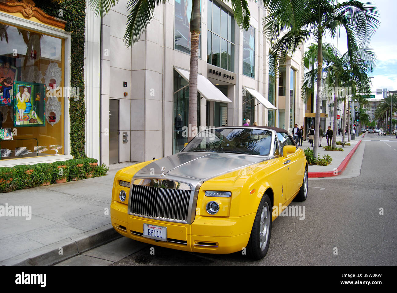 Yellow Rolls Royce N Rodeo Drive Beverly Hills Los